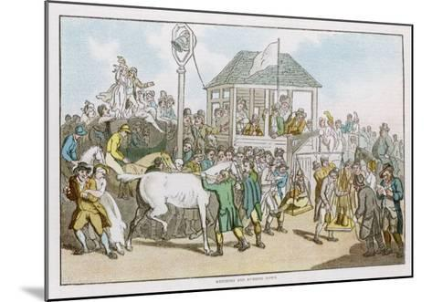 Weighing the Jockeys and Rubbing Down the Horses Before a Race-Thomas Rowlandson-Mounted Giclee Print