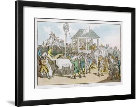 Weighing the Jockeys and Rubbing Down the Horses Before a Race-Thomas Rowlandson-Framed Art Print
