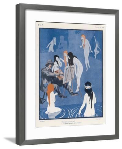 An Artist Paints a Dreary Beach Scene Unaware of the Water-Nymphs Disporting-Tom Purvis-Framed Art Print
