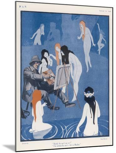 An Artist Paints a Dreary Beach Scene Unaware of the Water-Nymphs Disporting-Tom Purvis-Mounted Giclee Print