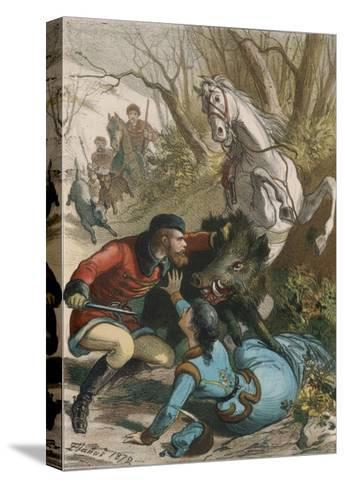 Woman is Rescued from a Wild Boar During a Hunting Expedition-D. Eusebio Planas-Stretched Canvas Print