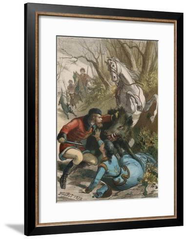 Woman is Rescued from a Wild Boar During a Hunting Expedition-D. Eusebio Planas-Framed Art Print