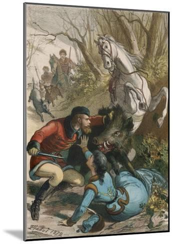 Woman is Rescued from a Wild Boar During a Hunting Expedition-D. Eusebio Planas-Mounted Giclee Print
