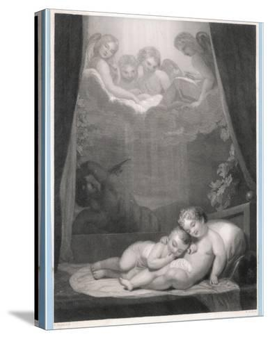 Guardian Angels Watch Over Two Babies Thwarting the Evil One-W.h. Mote-Stretched Canvas Print