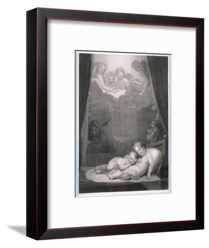 Guardian Angels Watch Over Two Babies Thwarting the Evil One-W.h. Mote-Framed Art Print