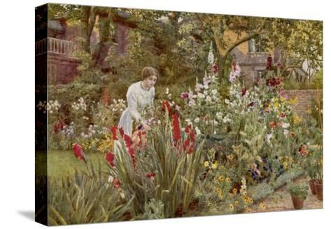 Mrs Spooner in Her Thames-Side Garden at Hammersmith West London-Beatrice Parsons-Stretched Canvas Print