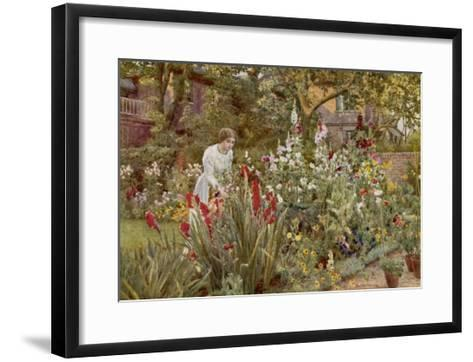 Mrs Spooner in Her Thames-Side Garden at Hammersmith West London-Beatrice Parsons-Framed Art Print