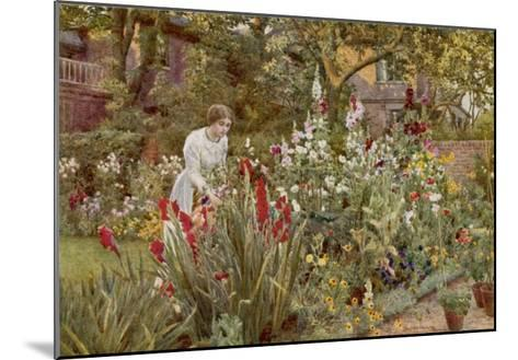 Mrs Spooner in Her Thames-Side Garden at Hammersmith West London-Beatrice Parsons-Mounted Giclee Print