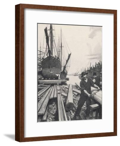 """The Old Shipyard"", a Carpenter Shapes the Timbers of a Sailing Vessel-Thornton Oakley-Framed Art Print"