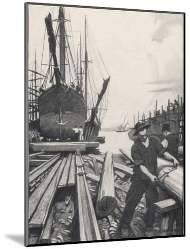 """The Old Shipyard"", a Carpenter Shapes the Timbers of a Sailing Vessel-Thornton Oakley-Mounted Giclee Print"