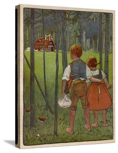 Hansel and Gretel See a Pretty Cottage in the Distance and Think They Might Shelter There-Willy Planck-Stretched Canvas Print