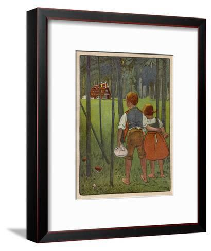 Hansel and Gretel See a Pretty Cottage in the Distance and Think They Might Shelter There-Willy Planck-Framed Art Print
