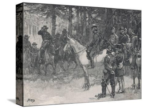 The Meeting of Lee and Grant at Appomattox Court-House Ending the War Between the States-H.m. Paget-Stretched Canvas Print