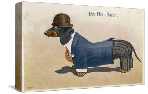 Dachshund Dressed as a Man--Stretched Canvas Print