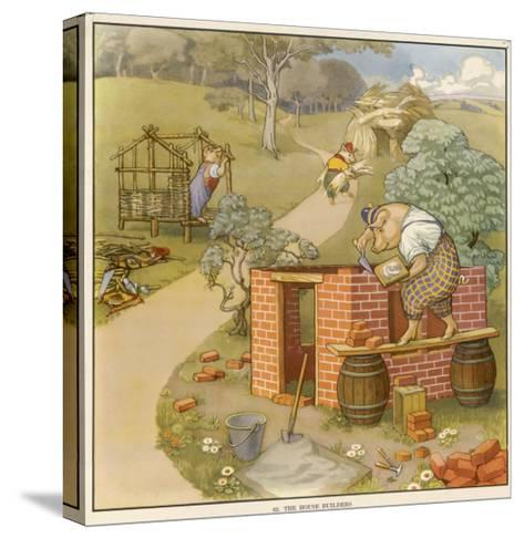 The Three Pigs Build Their Respective Houses out of Bricks Straw and Sticks--Stretched Canvas Print