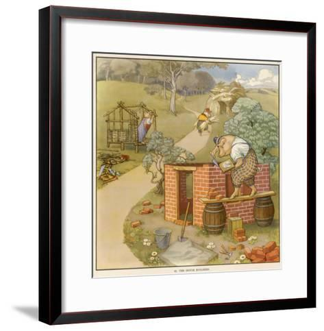 The Three Pigs Build Their Respective Houses out of Bricks Straw and Sticks--Framed Art Print