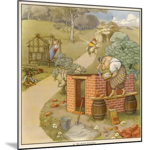 The Three Pigs Build Their Respective Houses out of Bricks Straw and Sticks--Mounted Giclee Print