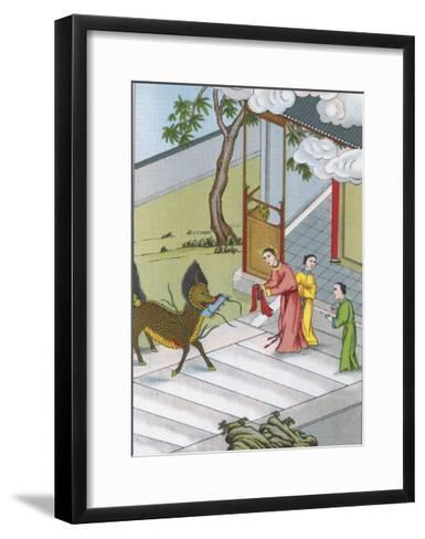 Confucius Chinese Philosopher His Birth is Heralded by a Mysterious Unicorn--Framed Art Print