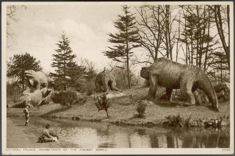 Dinosaur Models in the Grounds of the Crystal Palace Sydenham--Stretched Canvas Print