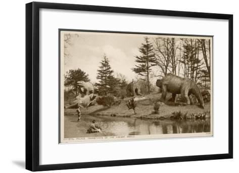 Dinosaur Models in the Grounds of the Crystal Palace Sydenham--Framed Art Print
