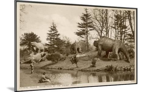 Dinosaur Models in the Grounds of the Crystal Palace Sydenham--Mounted Giclee Print