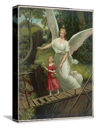 Guardian Angel Watches Over a Child as She Crosses a Dangerous Bridge--Stretched Canvas Print