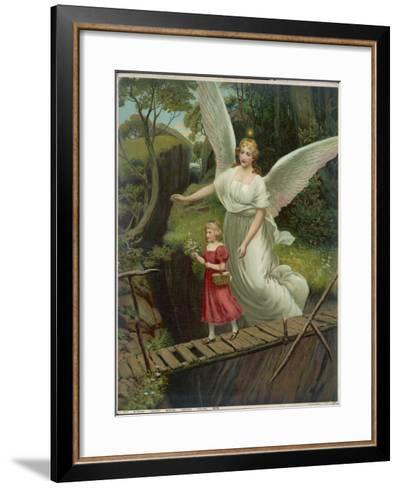 Guardian Angel Watches Over a Child as She Crosses a Dangerous Bridge--Framed Art Print