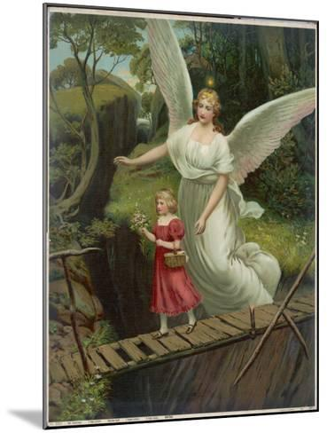 Guardian Angel Watches Over a Child as She Crosses a Dangerous Bridge--Mounted Giclee Print