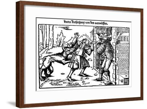 Werewolf Attacks a Man at the Entrance to a House--Framed Art Print