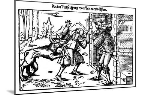 Werewolf Attacks a Man at the Entrance to a House--Mounted Giclee Print