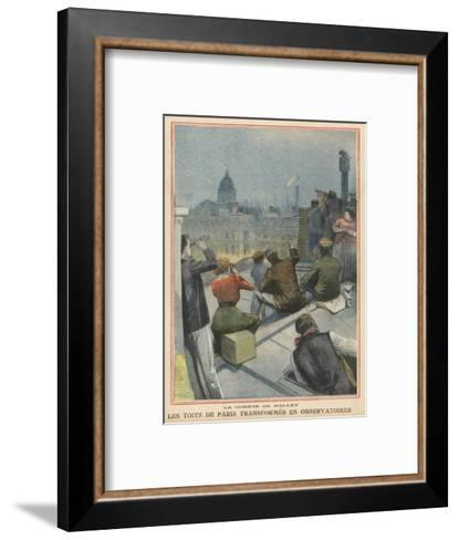 Parisians Gather on Their Rooftops to Observe Halley's Comet--Framed Art Print