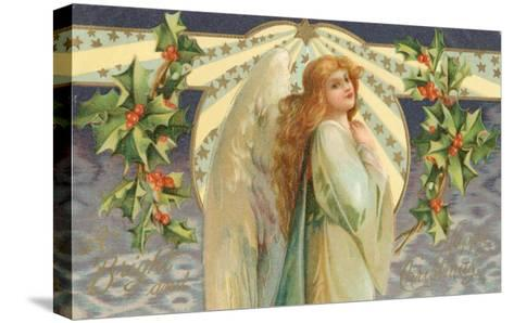 Christmas Angel with Holly--Stretched Canvas Print