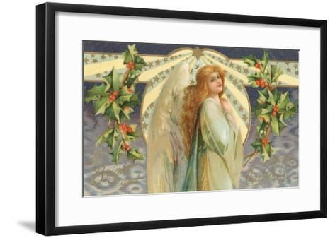 Christmas Angel with Holly--Framed Art Print