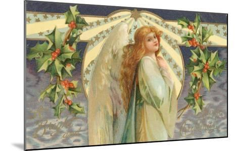 Christmas Angel with Holly--Mounted Giclee Print