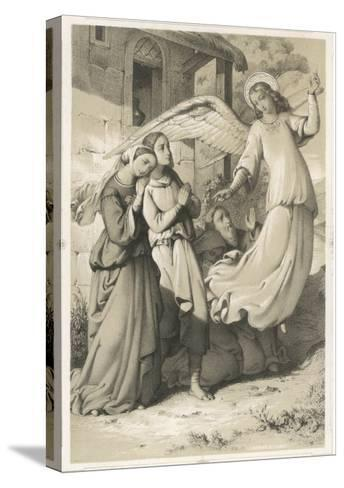 """""""See It's Easy When You Know How!"""", an Angel Demonstrates the Art of Flying to an Admiring Audience--Stretched Canvas Print"""