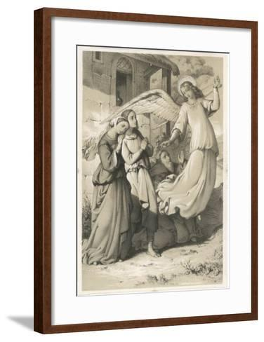 """""""See It's Easy When You Know How!"""", an Angel Demonstrates the Art of Flying to an Admiring Audience--Framed Art Print"""