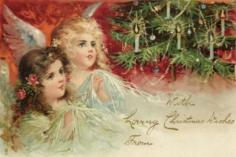 Two Angels Admire the Decorated Tree--Stretched Canvas Print