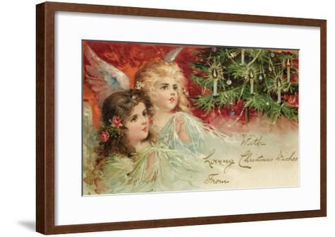 Two Angels Admire the Decorated Tree--Framed Art Print