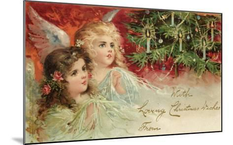 Two Angels Admire the Decorated Tree--Mounted Giclee Print