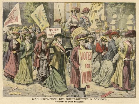 Suffragettes Celebrate the Release of Edith New and Mary Leigh from Holloway--Stretched Canvas Print