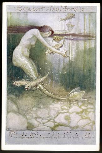 """Mermaid and Fish, Illustration to Schubert's """"Die Forelle"""", The Trout--Stretched Canvas Print"""