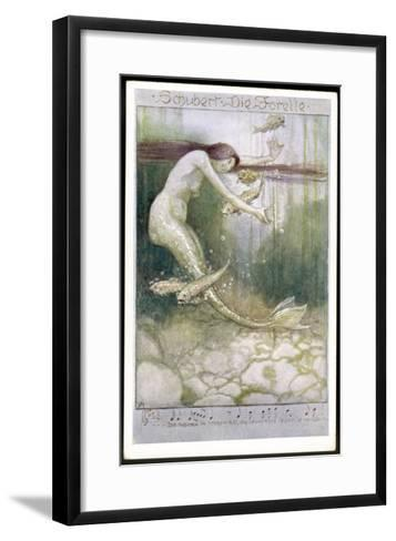 """Mermaid and Fish, Illustration to Schubert's """"Die Forelle"""", The Trout--Framed Art Print"""