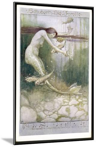 """Mermaid and Fish, Illustration to Schubert's """"Die Forelle"""", The Trout--Mounted Giclee Print"""