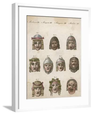 Classical Greek Actors' Masks Depicting Various Expressions and Emotions--Framed Art Print