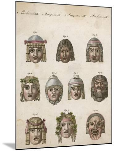 Classical Greek Actors' Masks Depicting Various Expressions and Emotions--Mounted Giclee Print