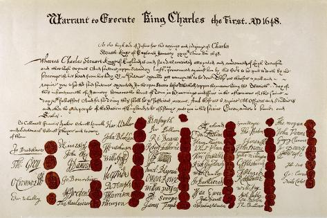 The Warrant for the Execution of Charles I--Stretched Canvas Print