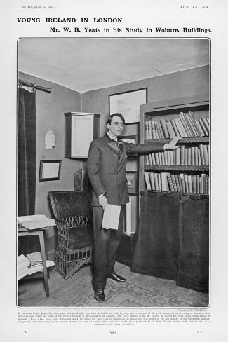 William Butler Yeats Irish Poet and Dramatist in His Study at Woburn Buildings London--Stretched Canvas Print