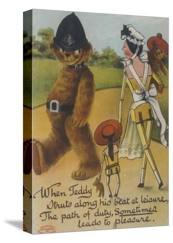 Teddy Bear Policeman Eyes Nurse, Who is Carrying Another Teddy--Stretched Canvas Print
