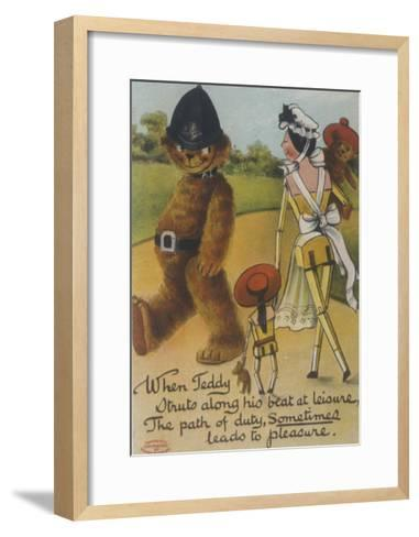 Teddy Bear Policeman Eyes Nurse, Who is Carrying Another Teddy--Framed Art Print