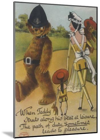 Teddy Bear Policeman Eyes Nurse, Who is Carrying Another Teddy--Mounted Giclee Print